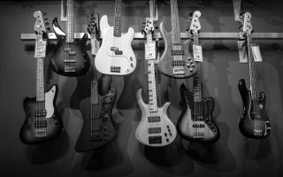 acoustics-bass-guitars-black-and-white-